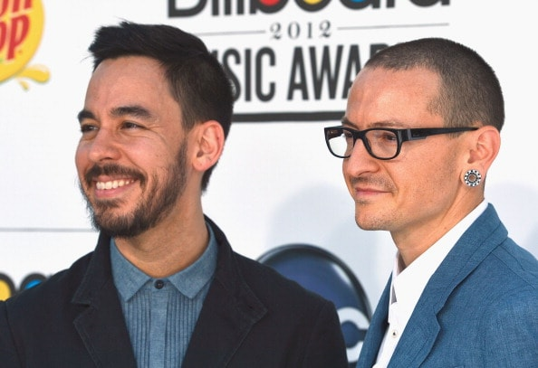LAS VEGAS, NV - MAY 20:  Musicians Mike Shinoda (L) and Chester Bennington of Linkin Park arrive at the 2012 Billboard Music Awards held at the MGM Grand Garden Arena on May 20, 2012 in Las Vegas, Nevada.  (Photo by Frazer Harrison/Getty Images for ABC)