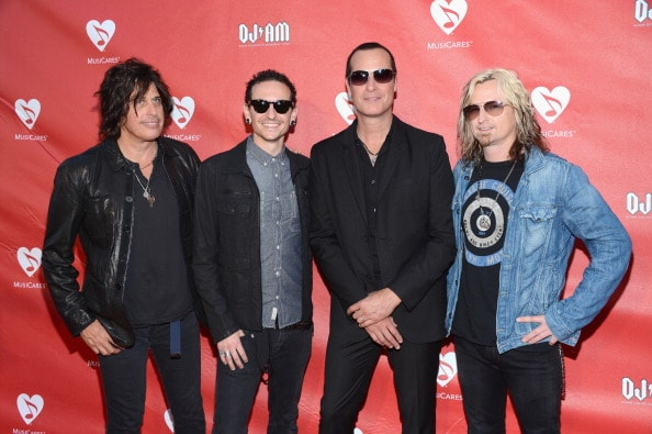 LOS ANGELES, CA - MAY 30:  Dean DeLeo, Chester Bennington, Robert DeLeo and Eric Kretz of Stone Temple Pilots attend the 9th Annual MusiCares MAP Fund Benefit Concert at Club Nokia on May 30, 2013 in Los Angeles, California.  (Photo by Jason Kempin/Getty Images)