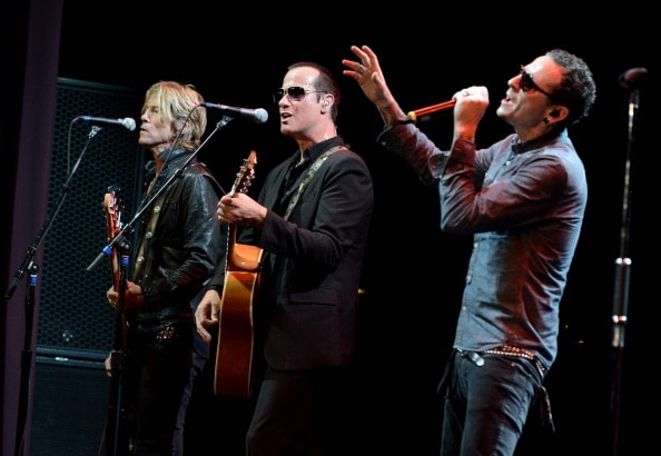 LOS ANGELES, CA - MAY 30:  (L-R) Musicians Duff McKagan, Robert DeLeo and Chester Bennington perform at the 9th Annual MusiCares MAP Fund Benefit Concert at Club Nokia on May 30, 2013 in Los Angeles, California.  (Photo by Kevin Winter/Getty Images)