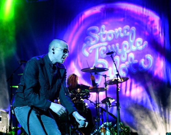 LAS VEGAS, NV - DECEMBER 15:  Singer Chester Bennington of Stone Temple Pilots performs during KOMP'S Totally Politically Correct Holiday Bash at The Joint inside the Hard Rock Hotel & Casino on December 15, 2013 in Las Vegas, Nevada.  (Photo by Ethan Miller/Getty Images)