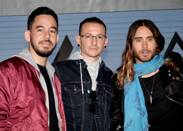 LOS ANGELES, CA - MARCH 04:  (L-R) Musicians Mike Shinoda and Chester Bennington of Linkin Park and Jared Leto of Thirty Seconds to Mars appear onstage at a press conference to announce their new tour at Milk Studios on March 4, 2014 in Los Angeles, California.  (Photo by Kevin Winter/Getty Images)