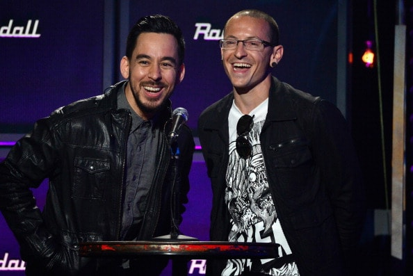 LOS ANGELES, CA - APRIL 23:  Musicians Mike Shinoda and Chester Bennington  speak onstage at the 2014 Revolver Golden Gods Awards at Club Nokia on April 23, 2014 in Los Angeles, California.  (Photo by Frazer Harrison/Getty Images)