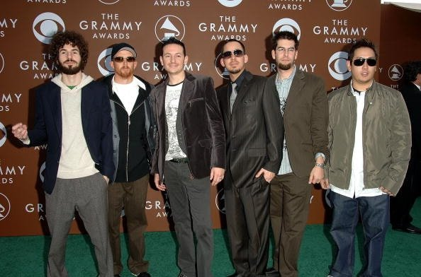 LOS ANGELES, CA - FEBRUARY 08:  Linkin Park arrives at the 48th Annual Grammy Awards at the Staples Center on February 8, 2006 in Los Angeles, California.  (Photo by Stephen Shugerman/Getty Images)