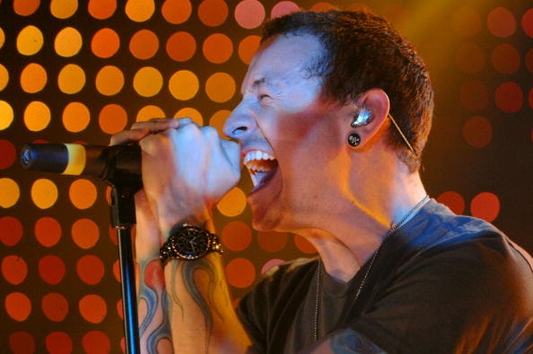 NEW YORK - MAY 11:  Lead singer Chester Bennington of Linkin Park performs onstage during a sound check at Webster Hall on May 11, 2007 in New York City.  (Photo by Brad Barket/Getty Images for AOL)