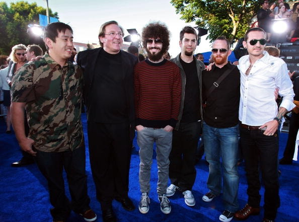 "WESTWOOD, CA - JUNE 27:  Producer Lorenzo di Bonaventura (2nd from Left) and musical group ""Linkin Park"" arrive to Paramount Pictures' premiere of ""Transformers"" held at Mann's Village Theater on June 27, 2007 in Westwood, California.  (Photo by Kevin Winter/Getty Images)"
