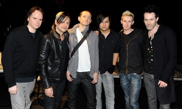 "LAS VEGAS - DECEMBER 11:  (L-R) Dead by Sunrise keyboardist Anthony ""Fu"" Valcic, guitarist Amir Derakh, singer Chester Bennington, drummer Elias Andra, bassist Brandon Belsky and guitarist Ryan Shuck appear before performing at KXTE X107.5 FM's Holiday Havoc '09 concert at the Hard Rock Hotel & Casino December 11, 2009 in Las Vegas, Nevada. The band is touring in support of the debut album, ""Out of Ashes.""  (Photo by Ethan Miller/Getty Images)"